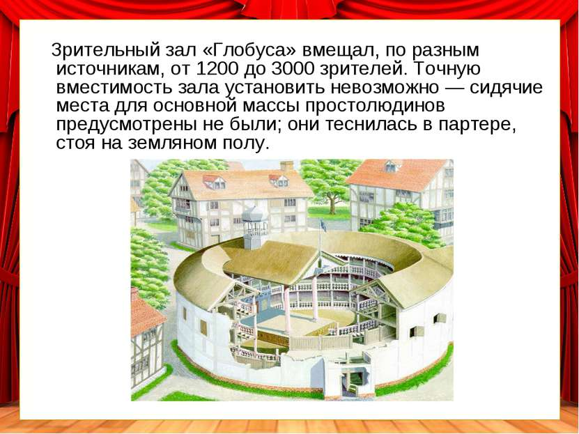 Зрительный зал «Глобуса» вмещал, поразным источникам, от1200до3000 зрител...
