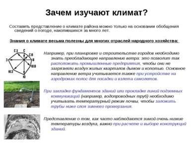 Зачем изучают климат? Составить представление о климате района можно только н...