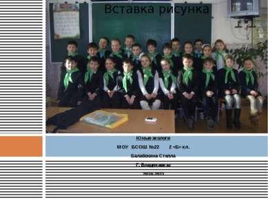 Юные экологи МОУ БСОШ №22 2 «Б» кл. Балабохина Стелла Г. Владикавказ 2010-201...