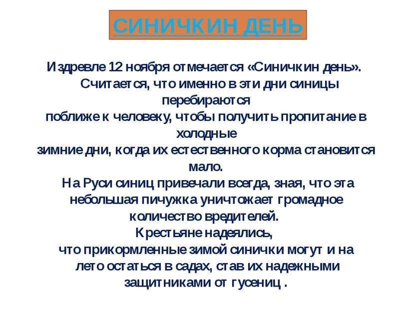 СИНИЧКИН ДЕНЬ Издревле 12 ноября отмечается «Синичкин день». Считается, что и...