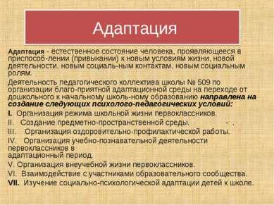 Адаптация Адаптация - естественное состояние человека, проявляющееся в приспо...