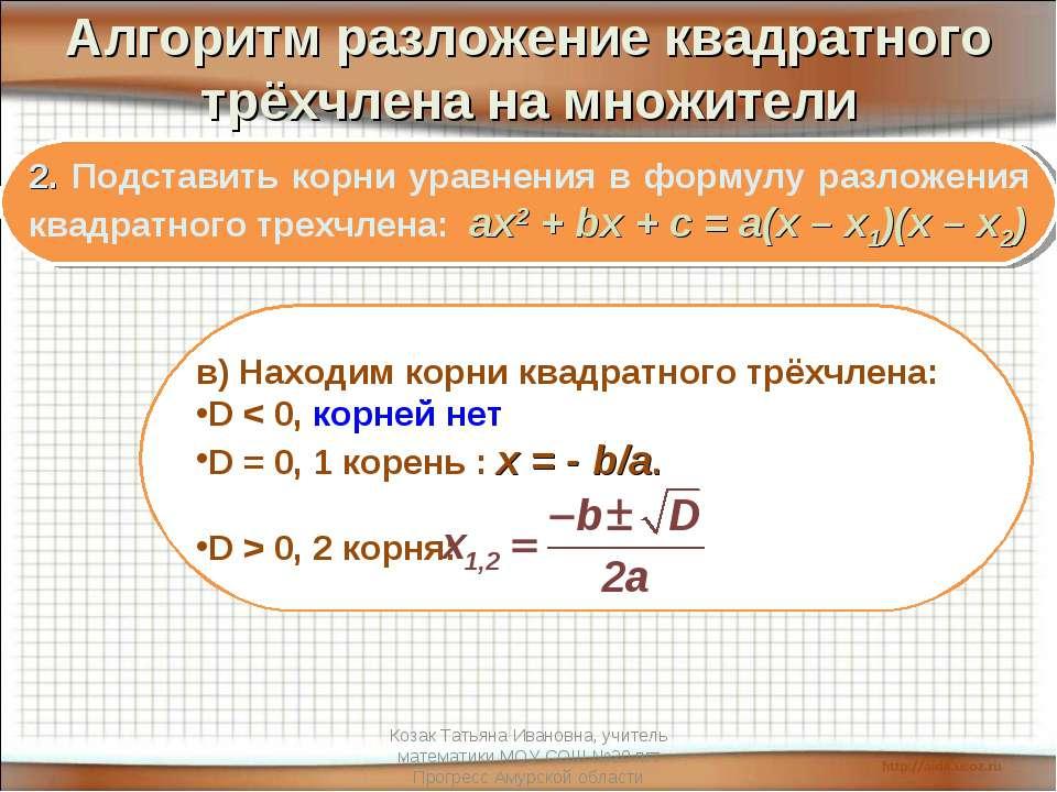 Алгоритм разложение квадратного трёхчлена на множители 2. Подставить корни ур...