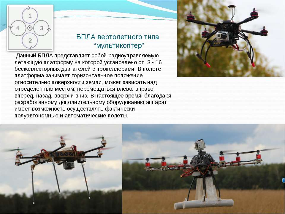 Данный БПЛА представляет собой радиоуправляемую летающую платформу на которой...
