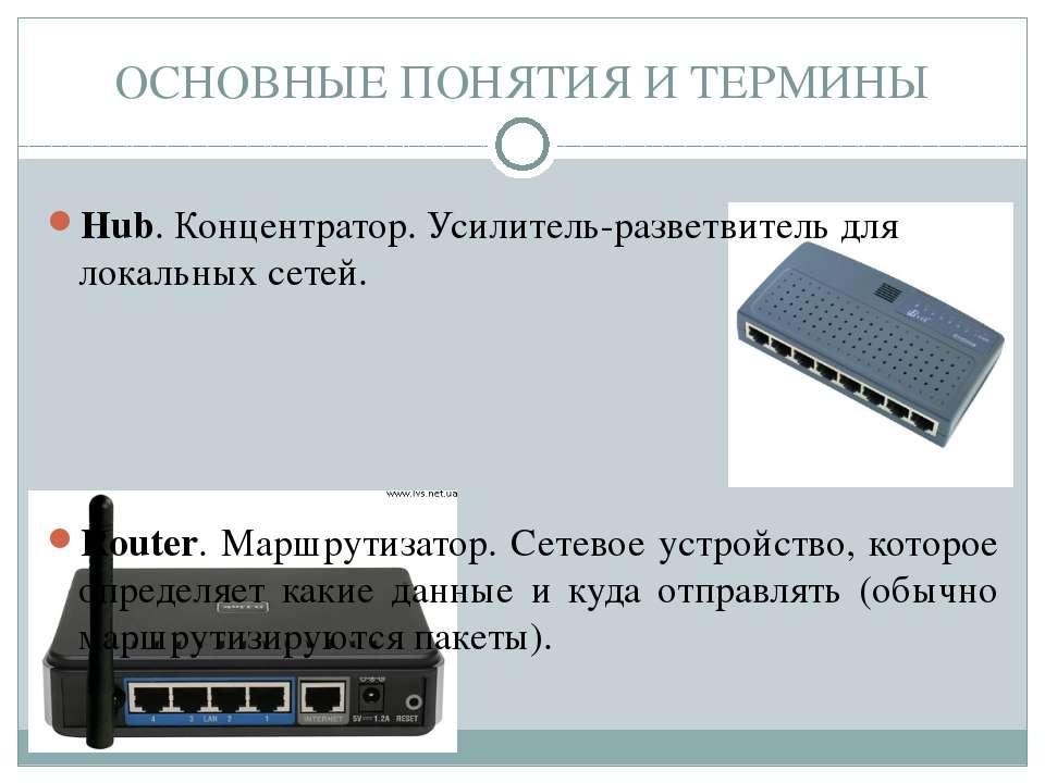 Hub. Концентратор. Усилитель-разветвитель для локальных сетей. Router. Маршру...
