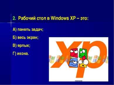 Рабочий стол в Windows XP – это: А) панель задач; Б) весь экран; В) ярлык; Г)...