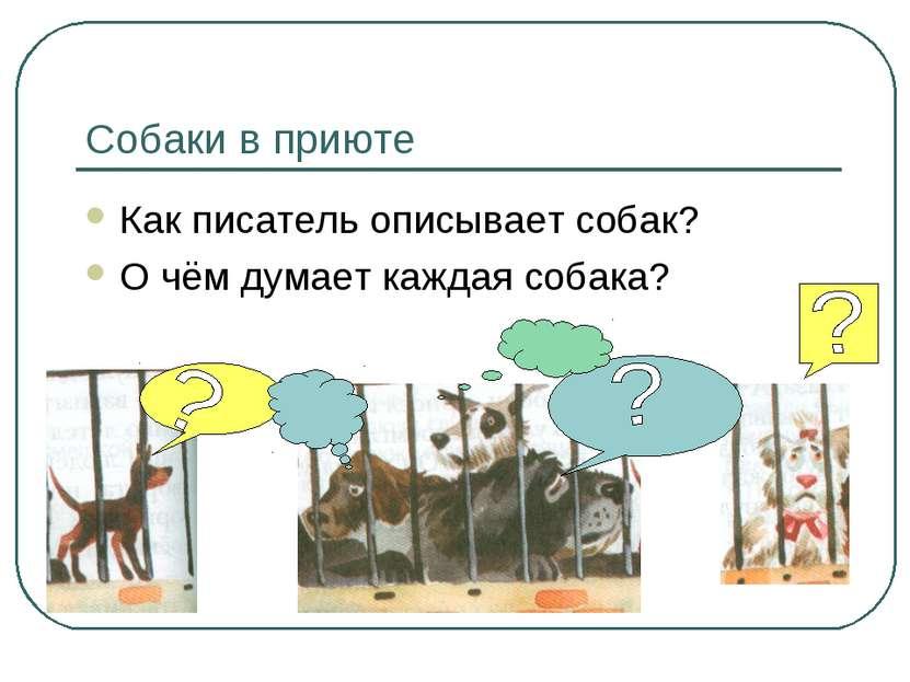 Собаки в приюте Как писатель описывает собак? О чём думает каждая собака?
