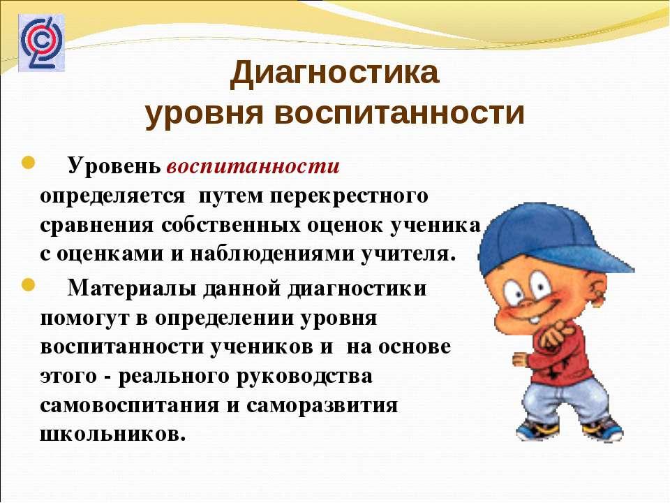 Диагностика уровня воспитанности Уровень воспитанности определяется путем пер...