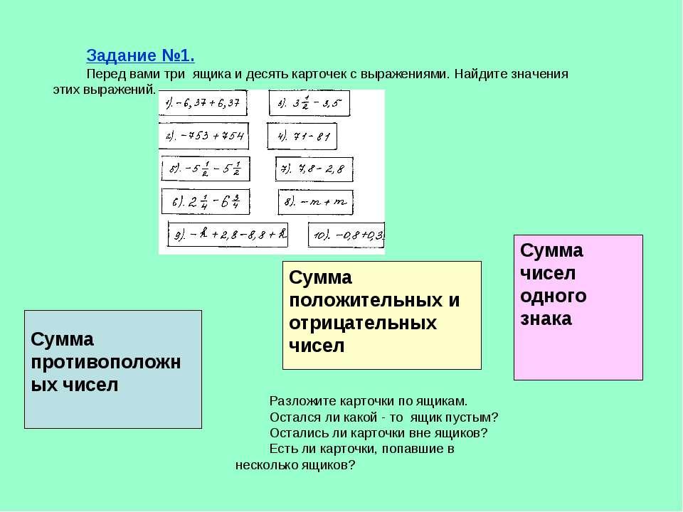 Сумма противоположных чисел Сумма положительных и отрицательных чисел Сумма ч...