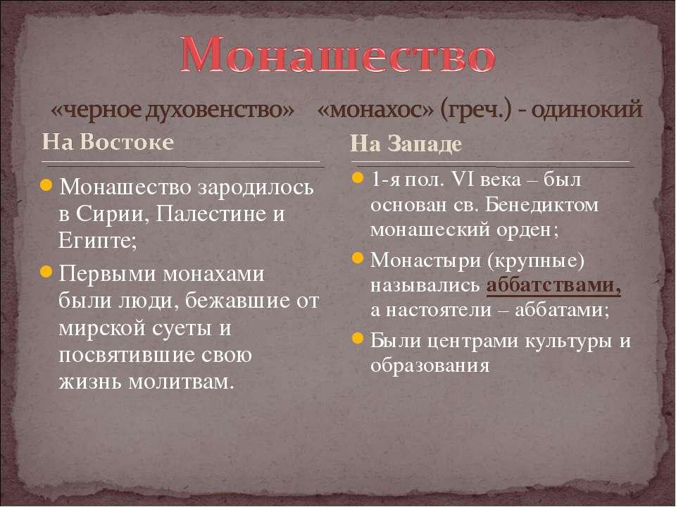 Монашество зародилось в Сирии, Палестине и Египте; Первыми монахами были люди...