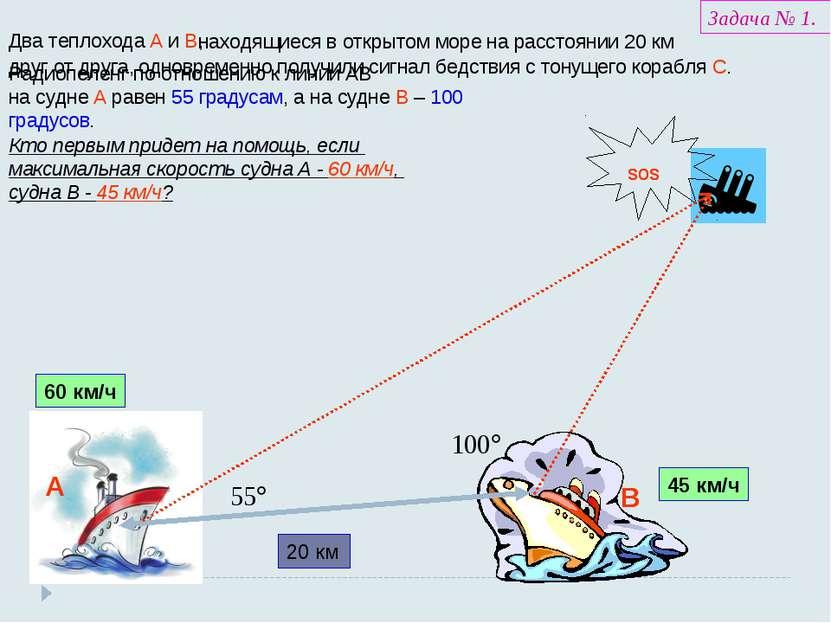 Два теплохода А и В, находящиеся в открытом море на расстоянии 20 км 20 км др...