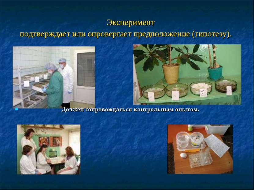 Эксперимент подтверждает или опровергает предположение (гипотезу). Должен соп...