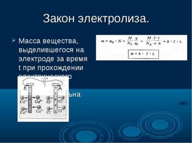 Закон электролиза. Масса вещества, выделившегося на электроде за время t при ...