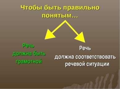 Чтобы быть правильно понятым… Речь должна быть грамотной Речь должна соответс...