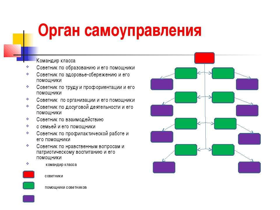 Орган самоуправления Командир класса Советник по образованию и его помощники ...
