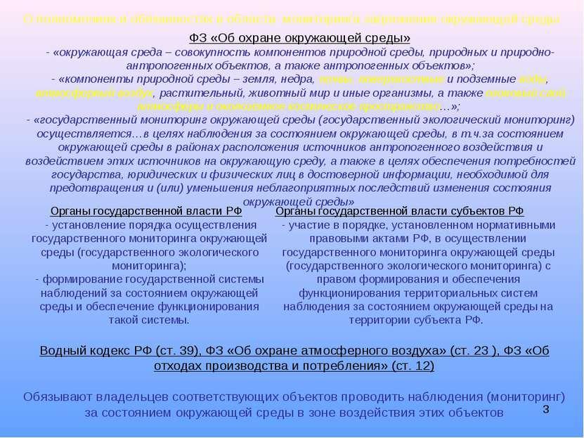 * О полномочиях и обязанностях в области мониторинга загрязнения окружающей с...