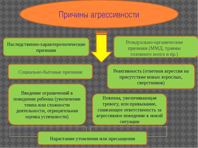 Причины агрессивности Наследственно-характерологические признаки Резидуально-...