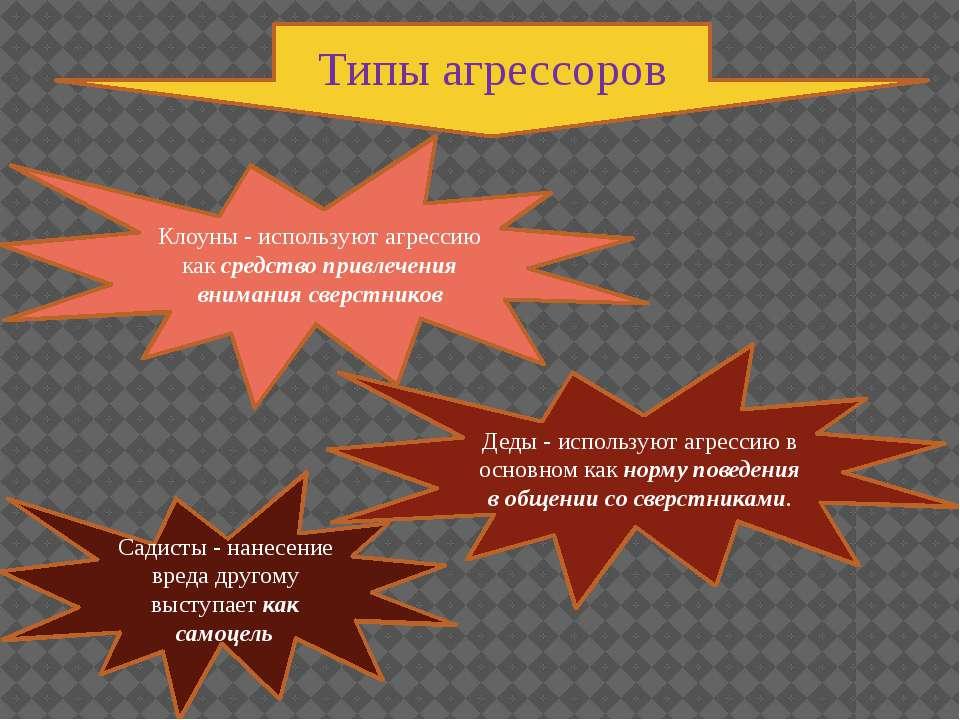 Типы агрессоров Клоуны - используют агрессию как средство привлечения внимани...
