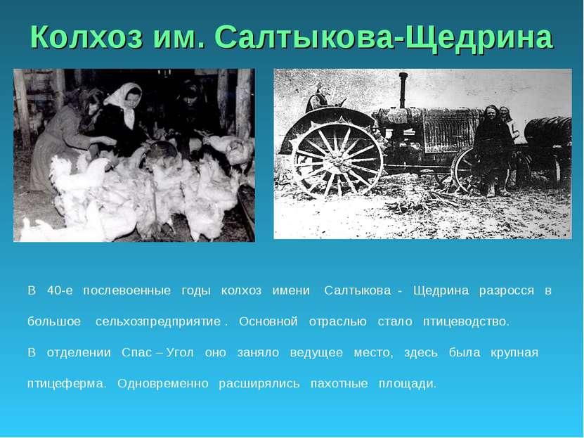 Колхоз им. Салтыкова-Щедрина В 40-е послевоенные годы колхоз имени Салтыкова ...