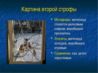 Картина второй строфы Метафоры: метелица стелется шелковым ковром; воробышки ...