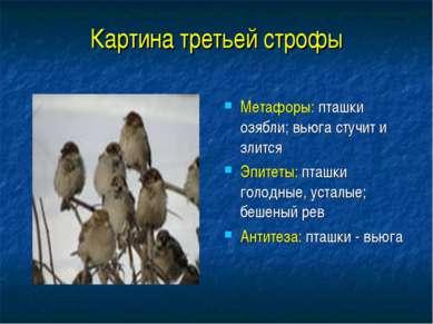 Картина третьей строфы Метафоры: пташки озябли; вьюга стучит и злится Эпитеты...