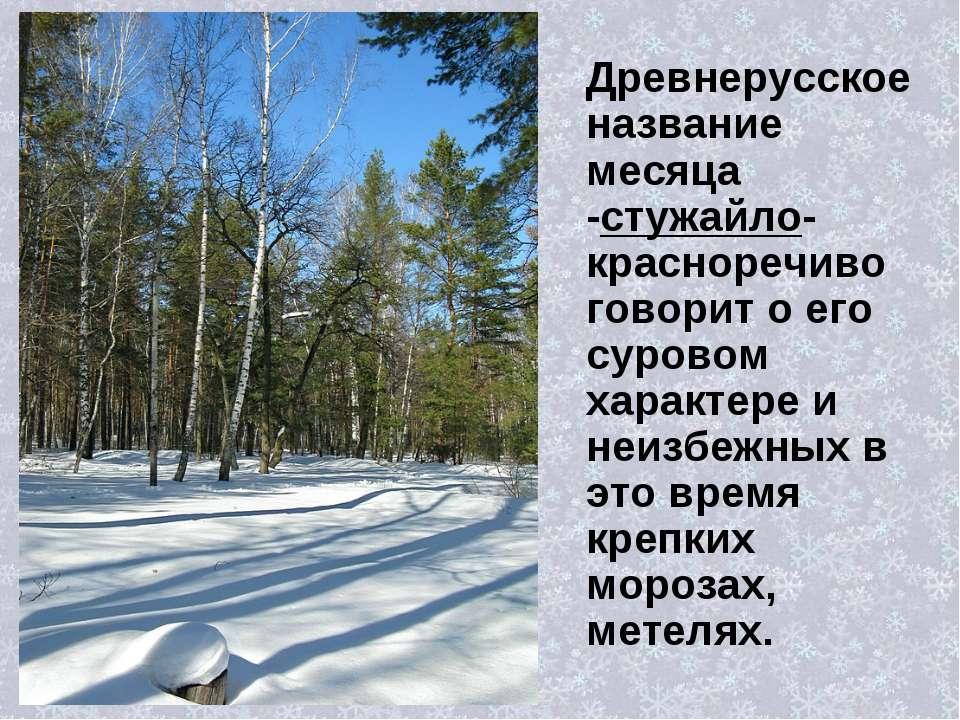 Древнерусское название месяца -стужайло- красноречиво говорит о его суровом х...