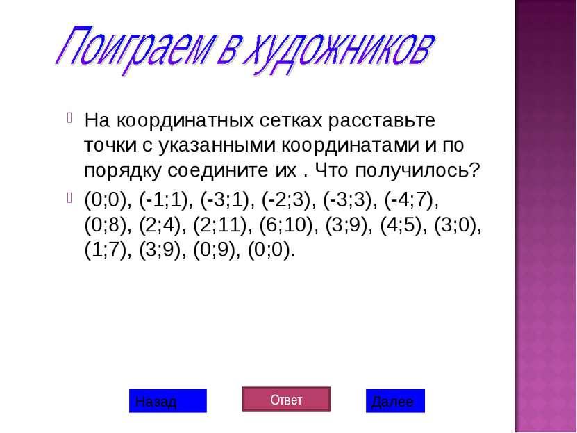 На координатных сетках расставьте точки с указанными координатами и по порядк...