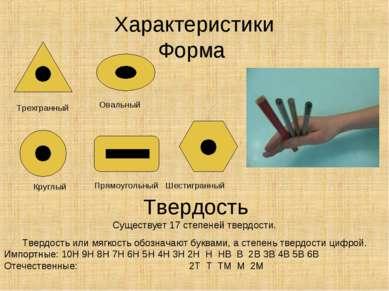 Характеристики Форма Круглый Прямоугольный Шестигранный Трехгранный Овальный ...