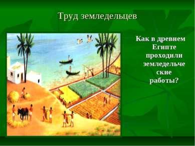 Труд земледельцев Как в древнем Египте проходили земледельческие работы?