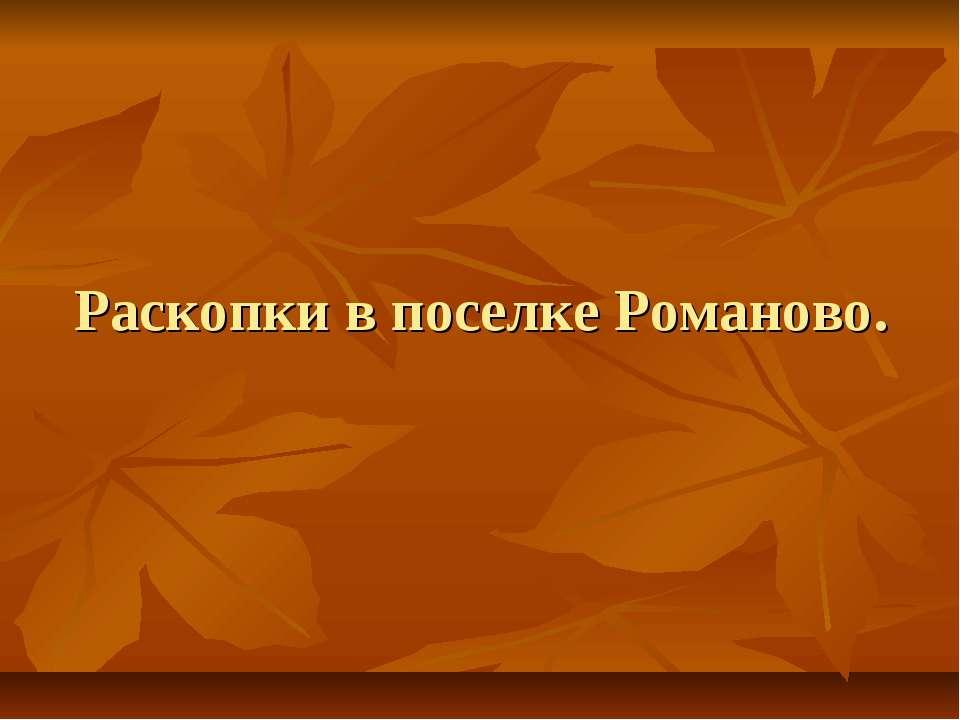 Раскопки в поселке Романово.