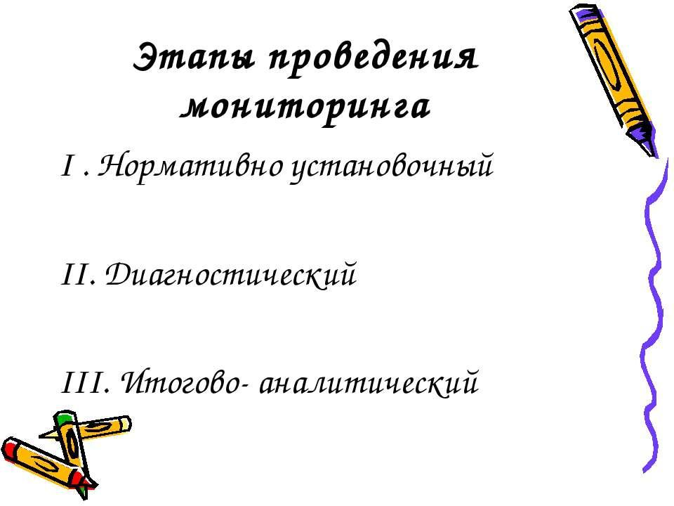 Этапы проведения мониторинга I . Нормативно установочный II. Диагностический ...