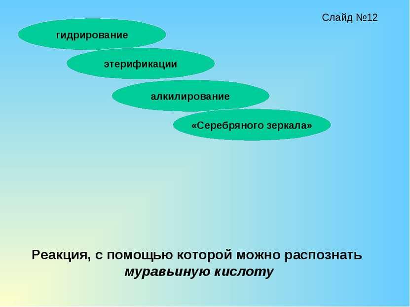 гидрирование этерификации алкилирование «Серебряного зеркала» Реакция, с помо...
