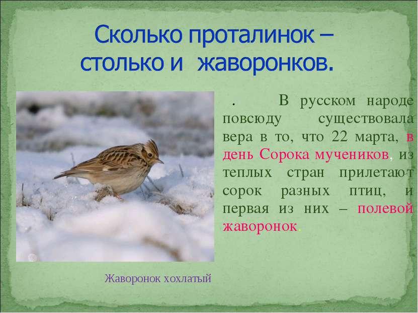 . В русском народе повсюду существовала вера в то, что 22 марта, в день Сорок...