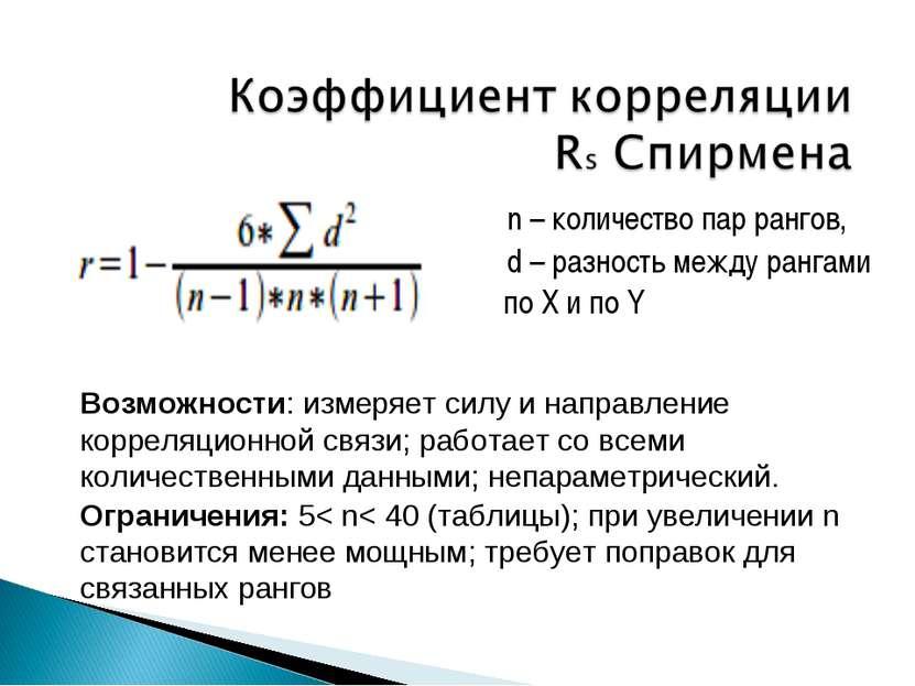 n – количество пар рангов, d – разность между рангами по X и по Y Возможности...