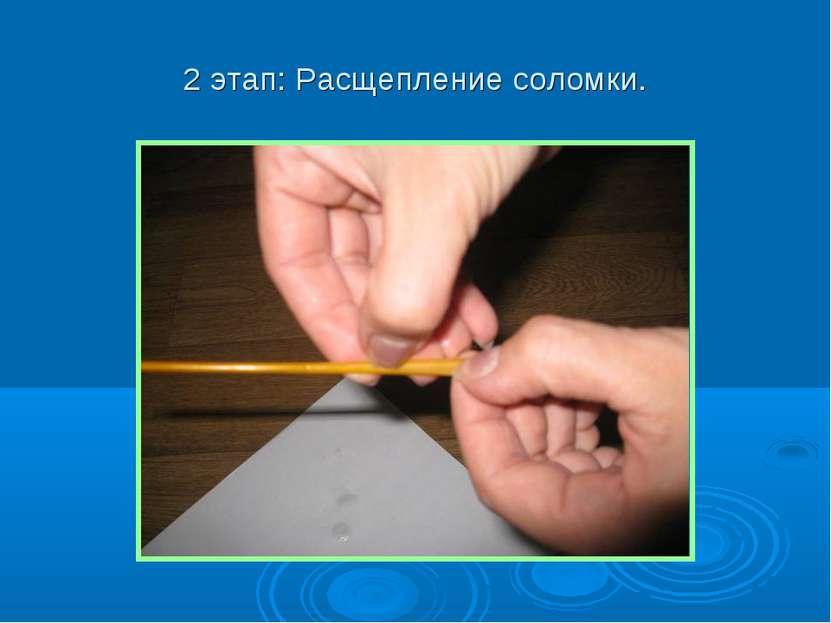2 этап: Расщепление соломки.