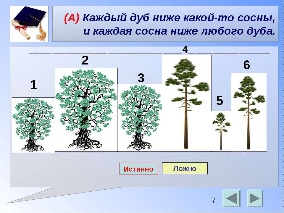 (А) Каждый дуб ниже какой-то сосны, и каждая сосна ниже любого дуба. ________...