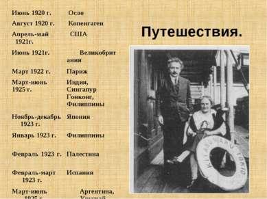 Путешествия. Июнь 1920 г. Осло Август 1920 г. Копенгаген Апрель-май 1921г. СШ...