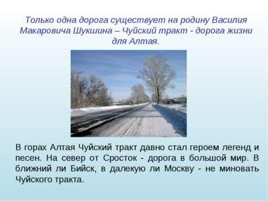 Только одна дорога существует на родину Василия Макаровича Шукшина – Чуйский ...