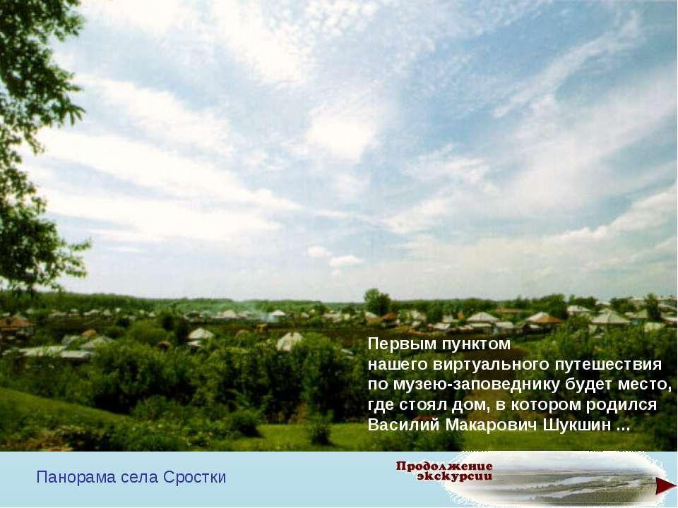 Панорама села Сростки Первым пунктом нашего виртуального путешествия по музею...