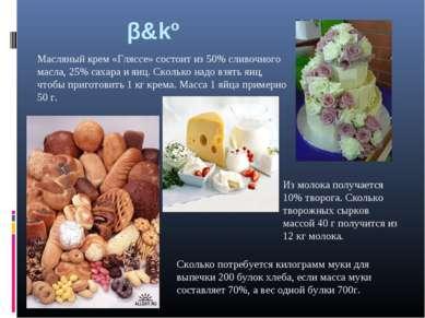 β&kº Масляный крем «Гляссе» состоит из 50% сливочного масла, 25% сахара и яиц...