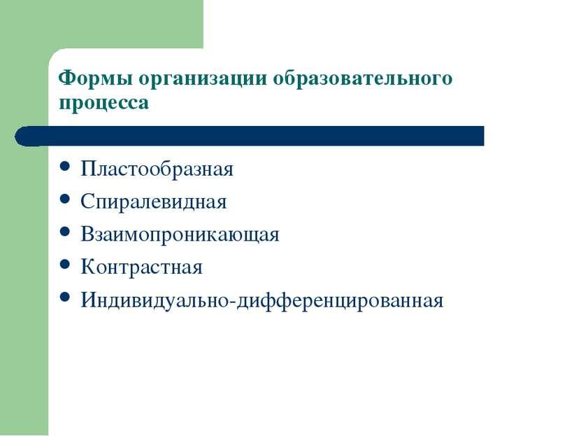 Формы организации образовательного процесса Пластообразная Спиралевидная Взаи...