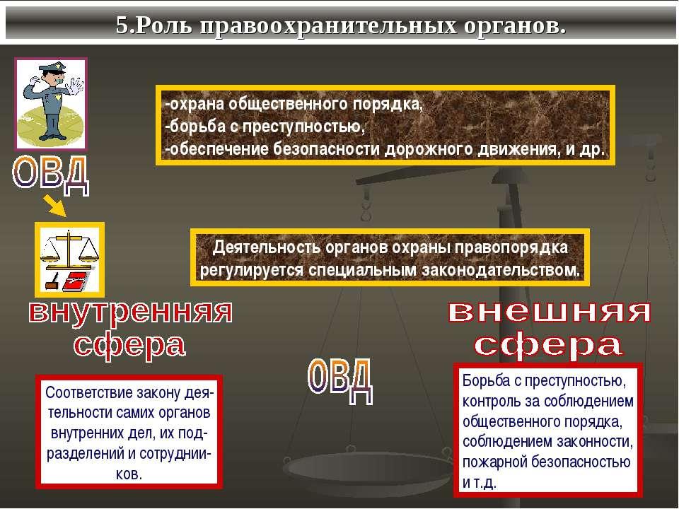 5.Роль правоохранительных органов.
