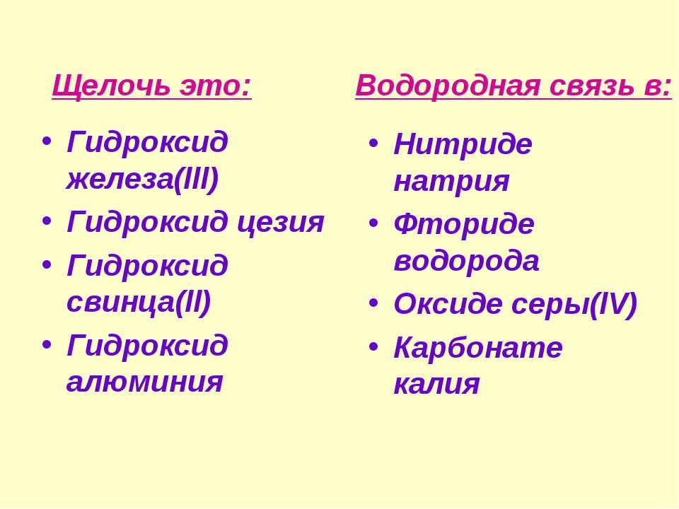 Гидроксид железа(lll) Гидроксид цезия Гидроксид свинца(ll) Гидроксид алюминия...
