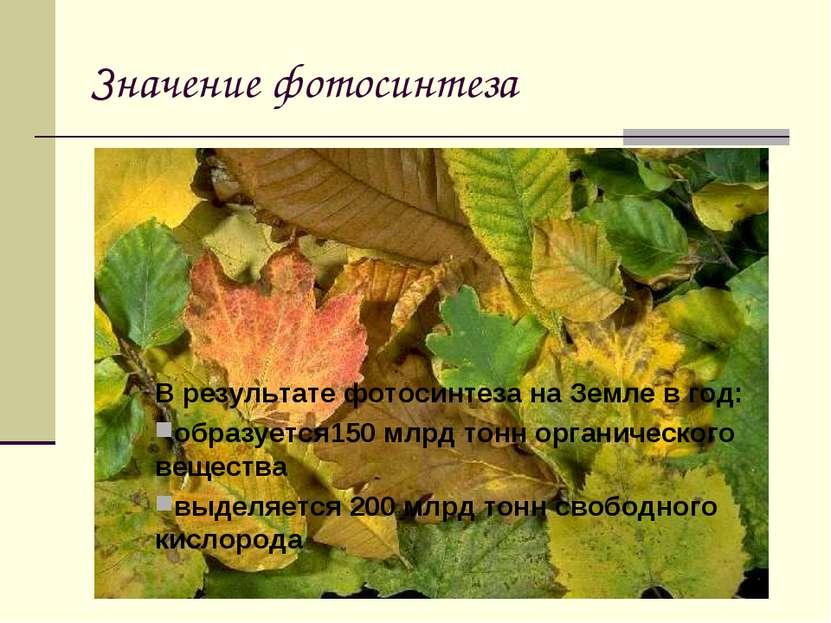 Значение фотосинтеза В результате фотосинтеза на Земле в год: образуется150 м...