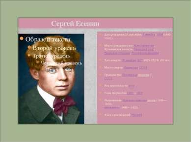 Сергей Есенин Дата рождения:21 сентября (3 октября) 1895(1895-10-03) Место ро...