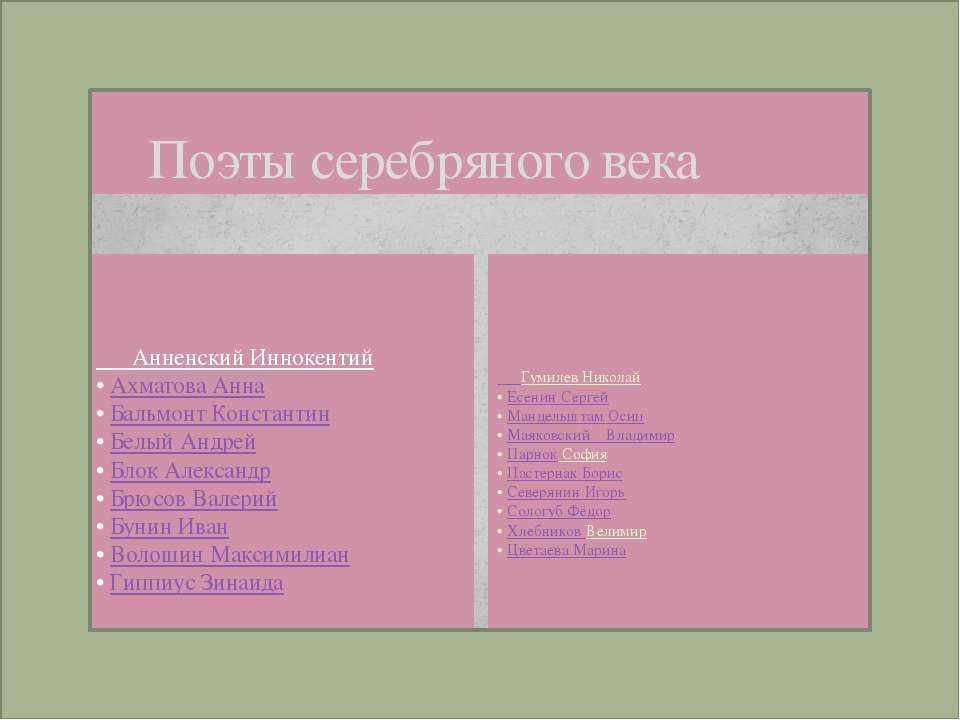 Поэты серебряного века Анненский Иннокентий • Ахматова Анна • Бальмонт Конста...
