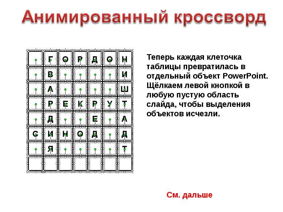 Теперь каждая клеточка таблицы превратилась в отдельный объект PowerPoint. Щё...
