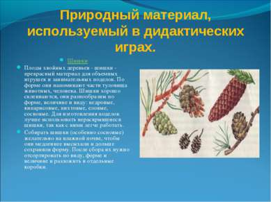 Природный материал, используемый в дидактических играх. Шишки Плоды хвойных д...
