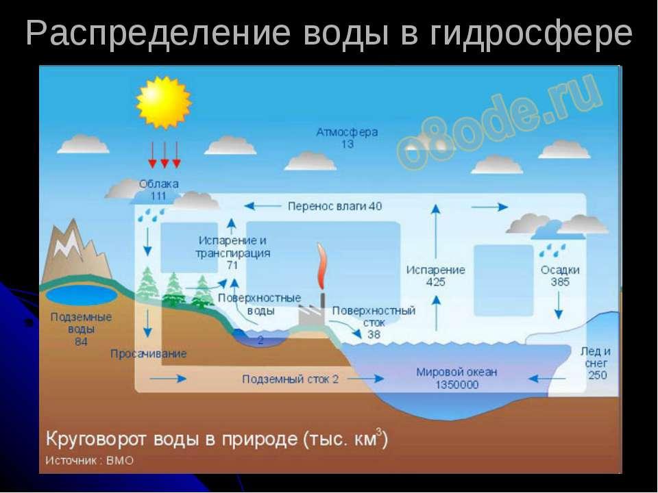 Распределение воды в гидросфере