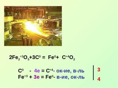 2Fe2+3O3+3C0 = Fe0+ C+4O2 C0 - 4e = C+4- ок-ие, в-ль Fe+3 + 3e = Fe0- в-ие, о...