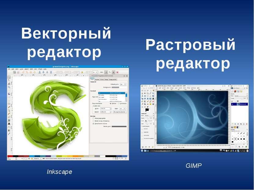Векторный редактор Растровый редактор GIMP Inkscape
